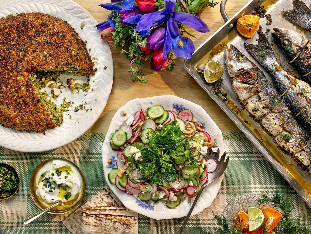 طرز تهیه ماهی شکم پر مجلسی در توستر و فر یا ماهیتابه