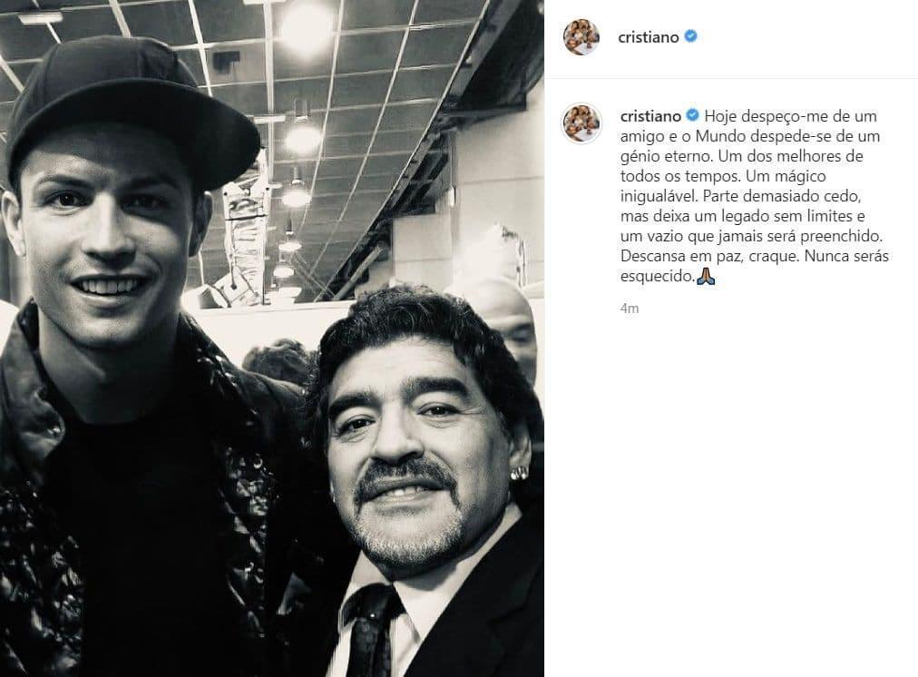 واکنش کریس رونالدو به درگذشت مارادونا